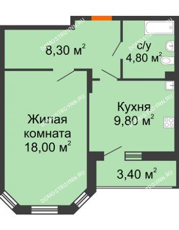 1 комнатная квартира 42,6 м² в ЖК Цветы, дом № 6-2