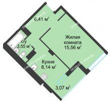 1 комнатная квартира 36,73 м² в ЖК На Вятской, дом № 3 (по генплану)