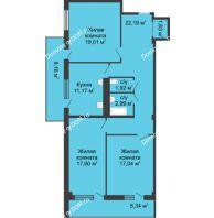 3 комнатная квартира 93,6 м² в  ЖК РИИЖТский Уют, дом Секция 1-2 - планировка