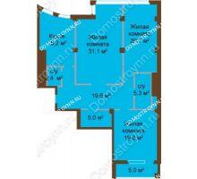 3 комнатная квартира 124,5 м², ЖК Бояр Палас - планировка