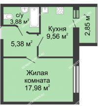 1 комнатная квартира 38,23 м², ЖК Волжский-Берег - планировка