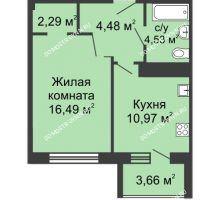 1 комнатная квартира 42,8 м² в ЖК Облака, дом № 1