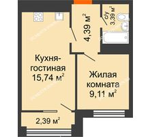 2 комнатная квартира 33,83 м², ЖК Каскад на Менделеева - планировка