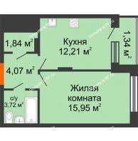 1 комнатная квартира 39,45 м² в ЖК Суворов-Сити, дом 1 очередь секция 6-13 - планировка