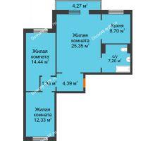 3 комнатная квартира 75,62 м² в ЖК Плодово-Ягодный, дом № 1 - планировка