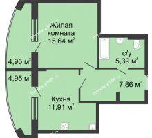 1 комнатная квартира 50,7 м² в ЖК Тихий Дон, дом № 4 - планировка