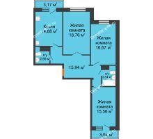 3 комнатная квартира 89,86 м² в ЖК Волжские паруса, дом Б-2-1 - планировка