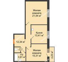 2 комнатная квартира 67,76 м² в ЖК Бограда 109, дом № 2 - планировка