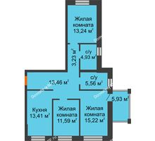 3 комнатная квартира 80,64 м² в ЖК Шоколад , дом ГП-1 - планировка