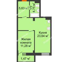 Студия 46,77 м² в ЖК Дом с террасами, дом № 6 - планировка