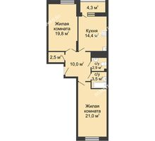 2 комнатная квартира 78,6 м² в ЖК Монолит, дом № 89, корп. 3 - планировка