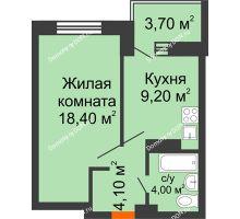 1 комнатная квартира 39,4 м², ЖК Zапад (Запад) - планировка