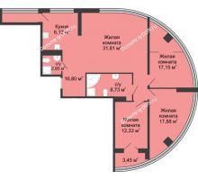4 комнатная квартира 120,7 м², ЖК Адмирал - планировка