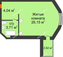 Студия 33,9 м² в ЖК На Мельникайте, дом ГП-17 - планировка