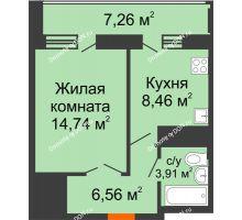 1 комнатная квартира 36,3 м² в ЖК Встреча, дом № 1 - планировка