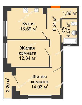2 комнатная квартира 55,48 м² в ЖК Аврора, дом № 3