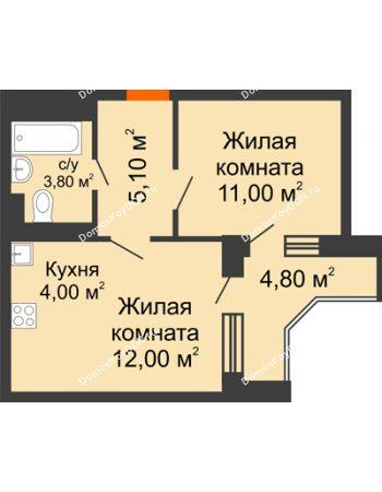 2 комнатная квартира 38,3 м² в ЖК Династия, дом Литер 2