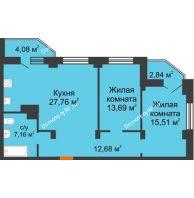 3 комнатная квартира 80,45 м², ЖК Столица - планировка