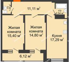 2 комнатная квартира 66,14 м² в Макрорайон Амград, дом №1 - планировка