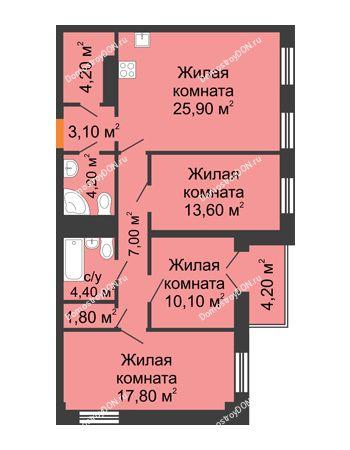 4 комнатная квартира 94,4 м² - ЖК Дом на 18-й Линии, 3