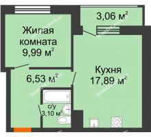 1 комнатная квартира 40,57 м² в ЖК Книги, дом № 2 - планировка