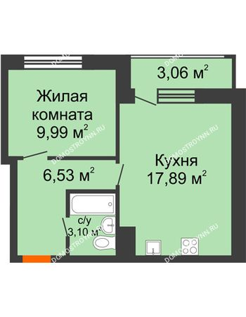 1 комнатная квартира 40,57 м² в ЖК Книги, дом № 2