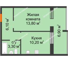 1 комнатная квартира 36,9 м² в ЖК Удачный 2, дом № 1 - планировка