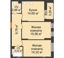 2 комнатная квартира 61,45 м², ЖД Жизнь - планировка