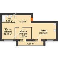 2 комнатная квартира 68,64 м² в Микрорайон Дон, дом ул Генерала Круковского, д. 1 - планировка