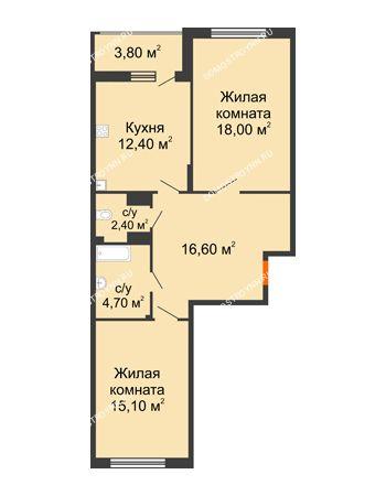 2 комнатная квартира 71,1 м² в ЖК Цветы, дом № 6-2