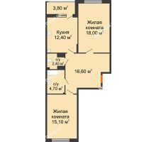 2 комнатная квартира 71,1 м² в ЖК Цветы, дом № 6-2 - планировка