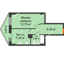 1 комнатная квартира 33,49 м² в ЖК Рубин, дом Литер 3 - планировка