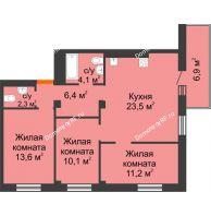 4 комнатная квартира 73,3 м² в ЖК Тихие зори, дом № 4, блок-секция 1,2,3,4 - планировка