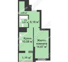 1 комнатная квартира 38,74 м² в ЖК Маленькая страна, дом № 1 - планировка