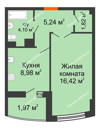 1 комнатная квартира 40,33 м² в ЖК Университетский 137, дом Секция С1