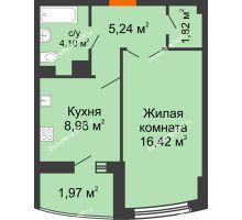 1 комнатная квартира 38,37 м² в ЖК Университетский 137, дом Секция С1 - планировка