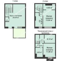 3 комнатный таунхаус 90 м² в КП Баден-Баден, дом № 31 (от 73 до 105 м2) - планировка