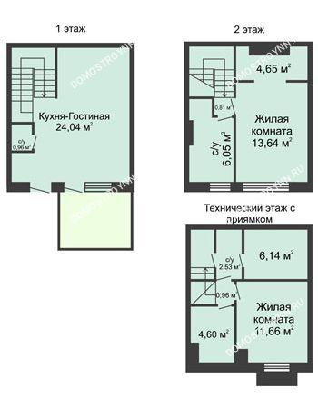 3 комнатная квартира 90 м² в КП Баден-Баден, дом № 26 (от 73 до 105 м2)