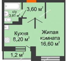 1 комнатная квартира 33,2 м² в ЖК Спортивный парк, дом Литер 6 - планировка