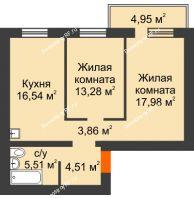 2 комнатная квартира 63,17 м², ЖК Новая Жизнь - планировка
