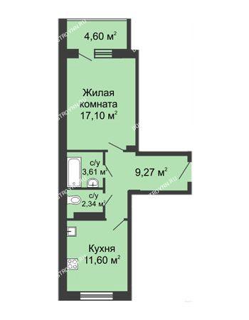 1 комнатная квартира 46,72 м² в ЖК Облака, дом № 1