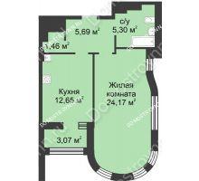 1 комнатная квартира 50,81 м² в ЖК Караваиха, дом № 5