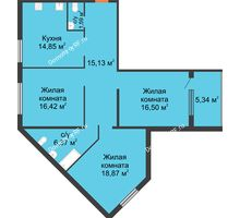 3 комнатная квартира 90,78 м² в ЖК Квартет, дом ГП-227 - планировка