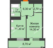 1 комнатная квартира 43,65 м², ЖК Корица - планировка