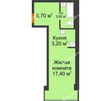 Студия 31,2 м² в Микрорайон Европейский, дом блок-секции № 1,2 - планировка