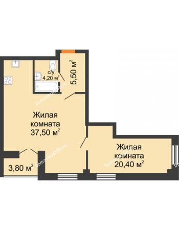 2 комнатная квартира 69,5 м² - ЖК Дом на 18-й Линии, 3