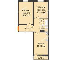 2 комнатная квартира 66,3 м² в ЖК Торпедо, дом № 16 - планировка