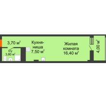 Студия 35,3 м², Жилой Дом пр. Чехова - планировка