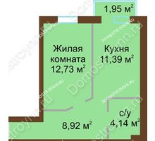 1 комнатная квартира 37,77 м² в ЖК Каменки, дом №14