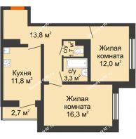 2 комнатная квартира 60,3 м² в ЖК Задонье, дом Позиция 2 - планировка